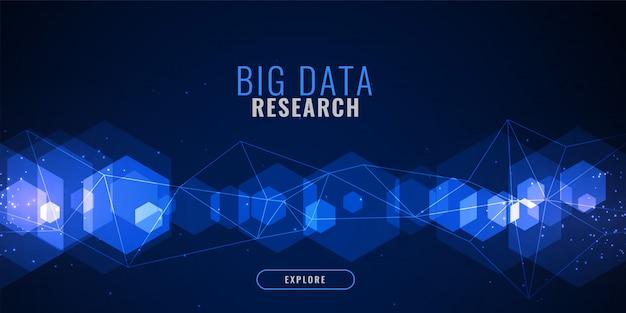 Fundo azul tecnologia com forma hexagonal e malha de linhas