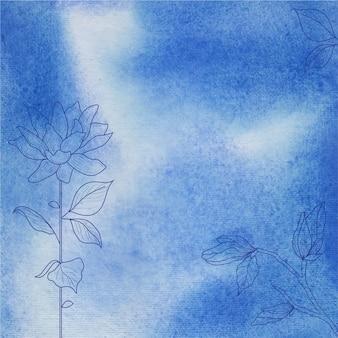Fundo azul textura aquarela com mão desenhada flor