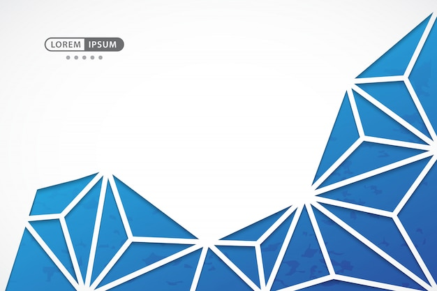 Fundo azul vetor geométrico com estilo de linha abstrata