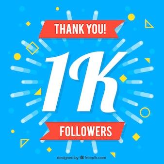 Fundo azul vintage de 1000 seguidores