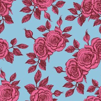 Fundo azul vintage sem costura bonito com rosas cor de rosa