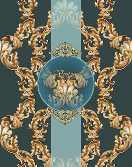 Fundo barroco do cartão do vintage ilustrações vetoriais douradas e verdes