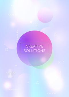 Fundo bauhaus com formas líquidas. fluido holográfico dinâmico com elementos gradiente de memphis. modelo gráfico para folheto, interface do usuário, revista, cartaz, banner e app. fundo de bauhaus hipster.