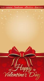 Fundo bege festivo com fita vermelha e arco para dia dos namorados. plano de fundo para cartões românticos com espaço vazio. feliz dia dos namorados.