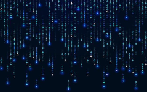 Fundo binário. conceito de matriz. dígitos caindo. ilustração azul tecnologia futurista