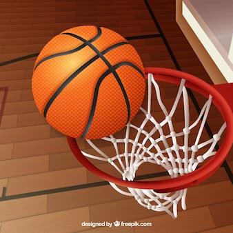 Fundo bola de basquete em uma cesta