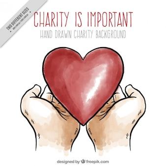 Fundo bonito caridade com desenhos de mãos e coração