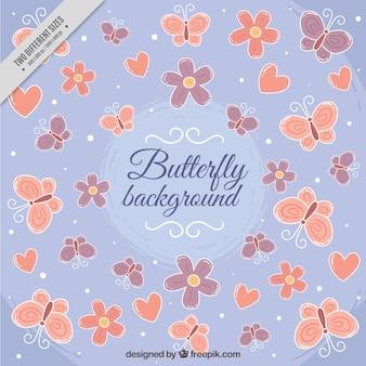 Fundo bonito com borboletas e corações