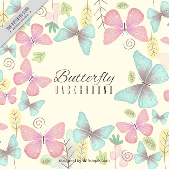Fundo bonito com borboletas e plantas