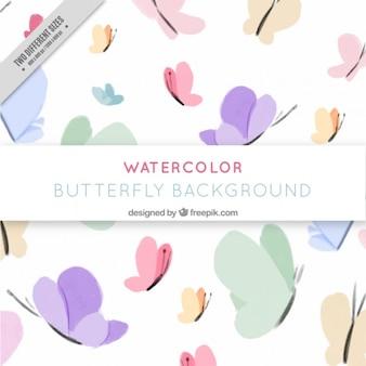 Fundo bonito com borboletas pintadas com aguarelas