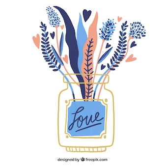 Fundo bonito com flores e corações