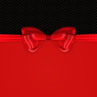 Fundo bonito com laço de seda vermelha e fita.