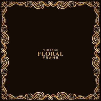 Fundo bonito com moldura floral dourada