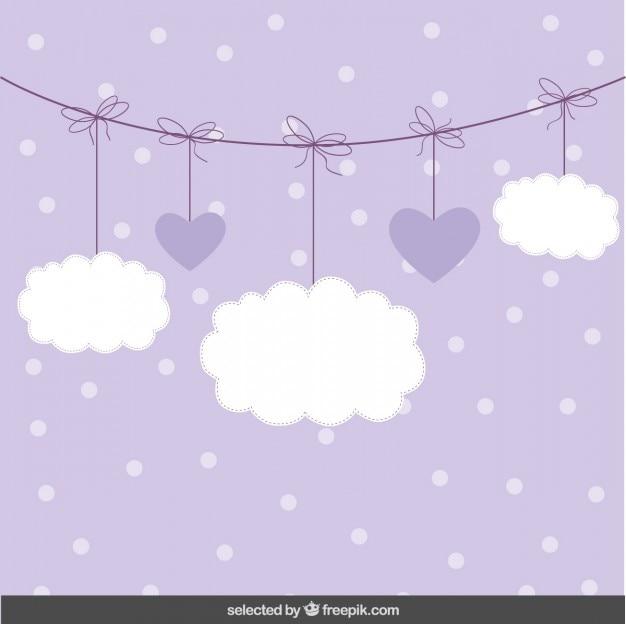Fundo bonito com nuvens e corações