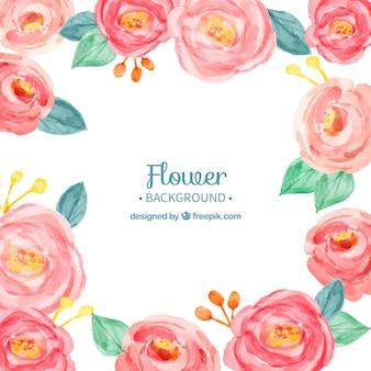 Fundo bonito com rosas de aquarela