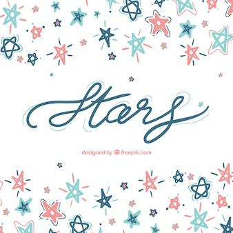 Fundo bonito da estrela com letras