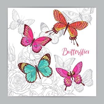 Fundo bonito de borboletas coloridas e rosas. ilustração desenhada à mão