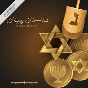 Fundo bonito de hanukkah com elementos dourados e pião
