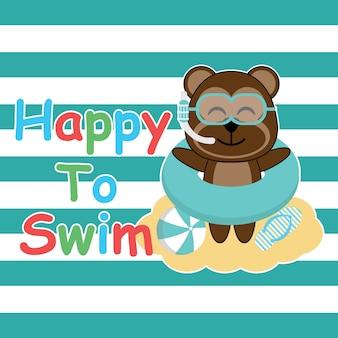 Fundo bonito de natação de urso