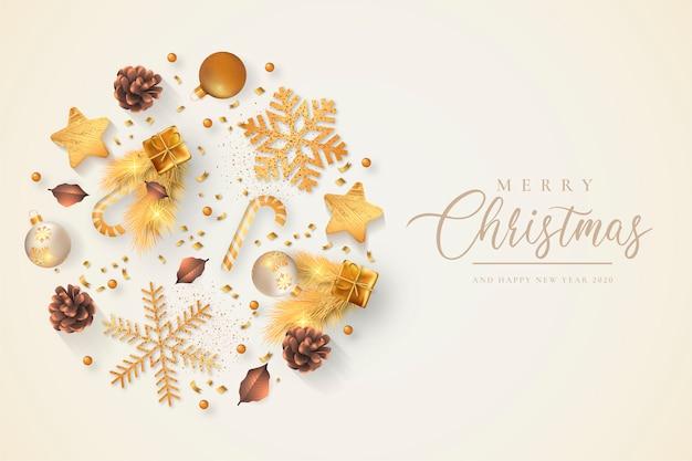 Fundo bonito de natal com enfeites de ouro