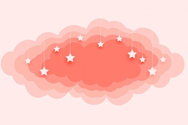 Fundo bonito de nuvens e estrelas de cor pastel