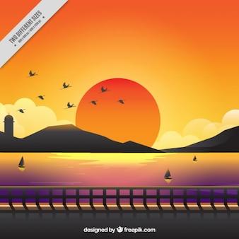 Fundo bonito de um por do sol com cores quentes