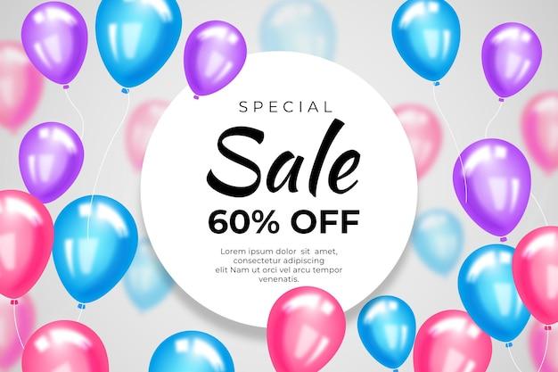 Fundo bonito de venda com balões