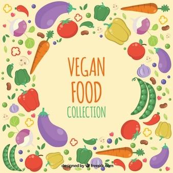 Fundo bonito desenhadas mão ingredientes vegan
