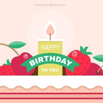 Fundo bonito do aniversário com vela e frutas