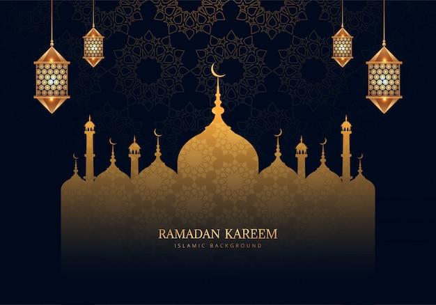 Fundo bonito do cartão de celebração ramadan kareem
