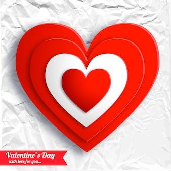 Fundo bonito do dia dos namorados com corações vermelhos em ilustração vetorial de papel amassado branco