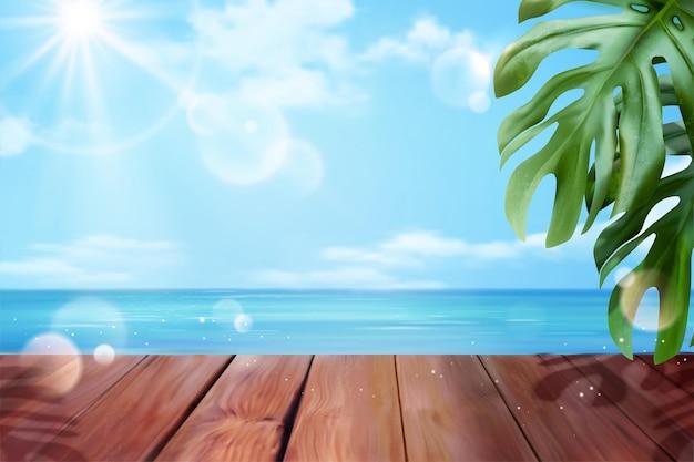Fundo bonito do oceano com prancha de madeira e folhas tropicais na ilustração 3d