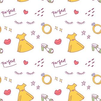 Fundo bonito doodle com vestido, sapatos e anel de diamante