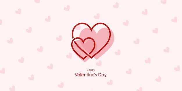 Fundo bonito dos namorados com estilo moderno amor coração casal premium vector
