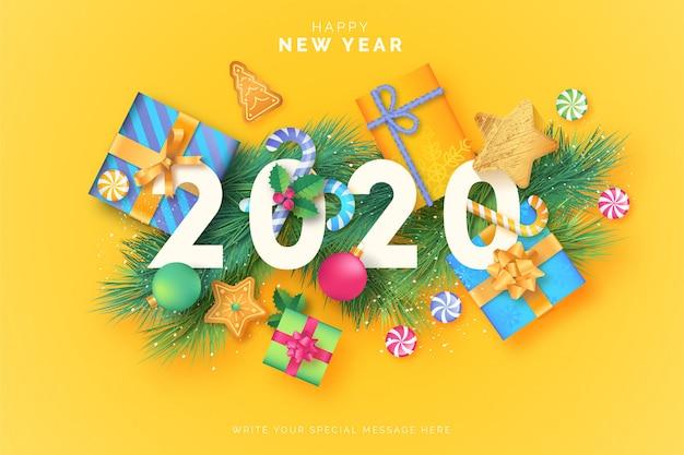 Fundo bonito feliz ano novo com presentes adoráveis
