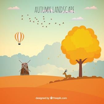 Fundo bonito inspiradora de paisagem de outono