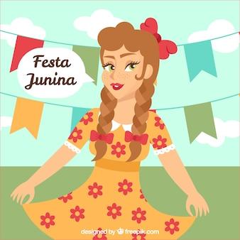 Fundo, bonito, menina, comemorando, partido, junina