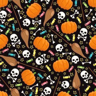 Fundo bonito para o halloween com caveiras, vassouras e estrelas em um fundo preto