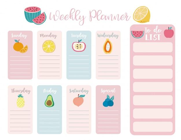 Fundo bonito planejador semanal com melancia
