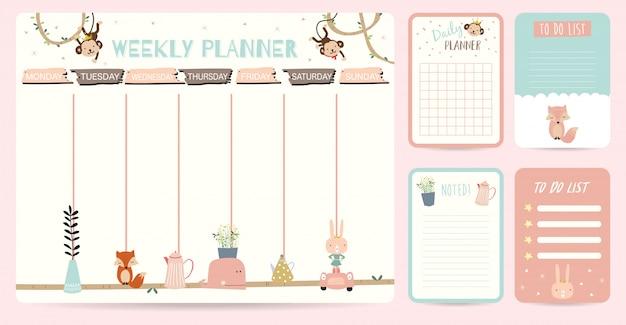 Fundo bonito planejador semanal para criança