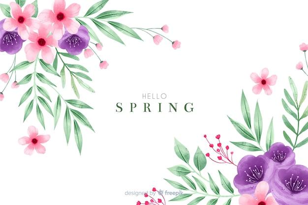 Fundo bonito primavera com flores em aquarela