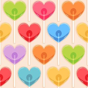 Fundo bonito sem costura com corações de doces de cores diferentes