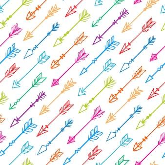 Fundo bonito sem costura com setas coloridas desenhadas à mão em um fundo branco - 2