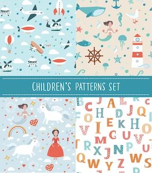 Fundo bonito sem costura para crianças. use-o para papel de parede infantil, embrulho de presente, estampas de roupas de bebê, estampas de roupas de cama, cartões comemorativos,