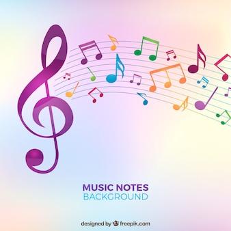 Fundo borrado com notas coloridas