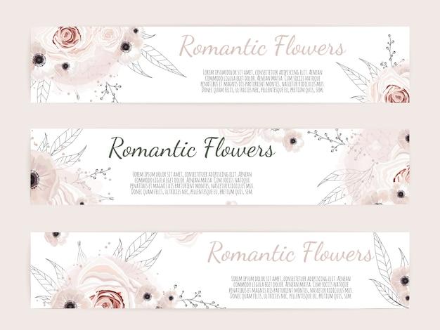 Fundo botânico com flores silvestres, folhas.