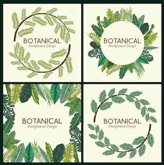 Fundo botânico com grinaldas de folhas
