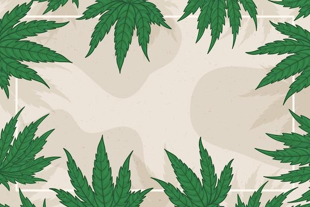 Fundo botânico da folha de cannabis do espaço da cópia