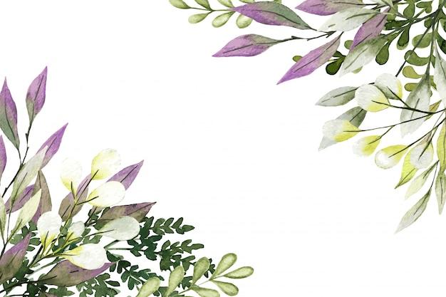 Fundo botânico de canto, vegetação com folhas e galhos