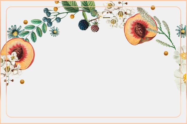 Fundo botânico de vetor vintage moldura dourada